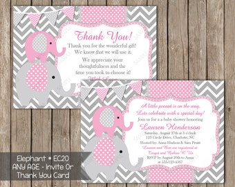 Gray & Pink Chevron Elephant Baby Shower Girl Invitation OR Thank You Card Invites Digital Printable Photo Card File