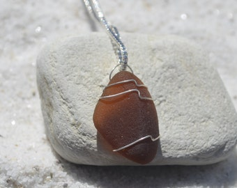 Genuine Amber Brown Wire Wrapped Sea Glass Pendant and Necklace