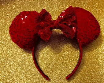 Vibrant Red Sparkly Minnie Ears/ Ready To Ship