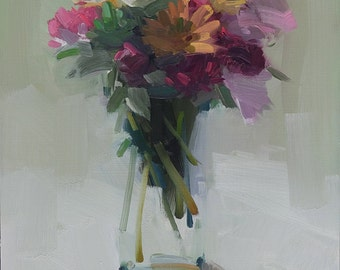 Late August Mixed Bouquet Archival Print, Reproduction of Amy Brnger Original Oil Painting