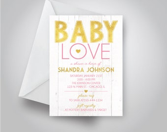 "Gold and Pink ""Baby Love"" Baby Shower Invitation, White Wood Background, Baby Girl Shower, 5x7 invitation"