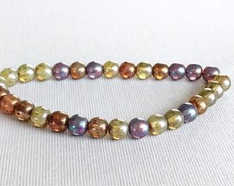 6 mm czech glass beads smooth round beads druk beads opal mix green rust purple, 30 pcs