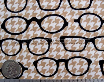 Robert Kaufman FOX and the HOUNDSTOOTH GLASSES Tan - Glasses Cotton Quilt Fabric Dapper Foxes Fox Grey Coordinate