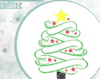Swirly Christmas Tree with Star LL059 D  - SVG - Cut File - Includes ai, svg (Cricut friendly) , dxf (for Silhouette users), jpg, png