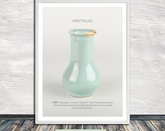 Kintsugi print, Kintsukuroi, gold repair, Kintsugi vase print, Japanese aesthetics, Wall Art, Printable Art, Instant Digital Download