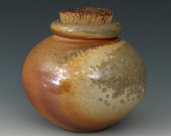 WOOD FIRED JAR #11 - Small Ceramic Jar - Small Ceramic Bottle - Lidded Jar - Canister - Wood Fired Bottle - Stoneware Jar - Corked Bottle