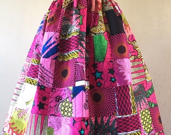 Beautiful Pinks Colorway Patchwork African Wax Print High Waisted Skirt Fit and Flare 100% Cotton