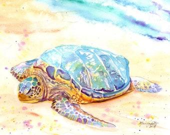 Tortue de mer original art aquarelle de hawaii hawaii peinture océan art kauai tropical art tortue peinture honu hawaii tortue tortue art tortues
