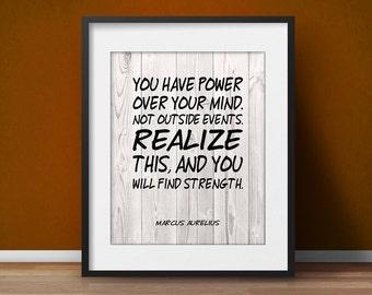 Marcus Aurelius quote motivational poster mind Office decor Spiritual art Wisdom Mindfulness Gift Life quote Meditation poster ohm Printable