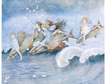 Hand-cut wooden jigsaw puzzle. SEA FAIRIES and NAUTILUS. Outhwaite. Fairytale gift. Wood, collectible. Bella Puzzles.