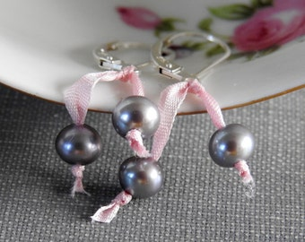 Pearl Earrings, Grey Pearls, Silver Earrings, Pink Silk Ribbon, Freshwater Pearls, Sterling Silver, Pearl Jewelry, Silver Grey Pearls