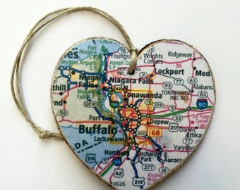 Buffalo Map Heart Ornament - Blue
