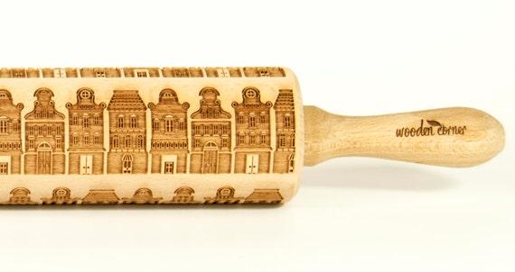 Gdansk Amsterdam Cookies, Original Polish rolling pin, engraved rolling pin