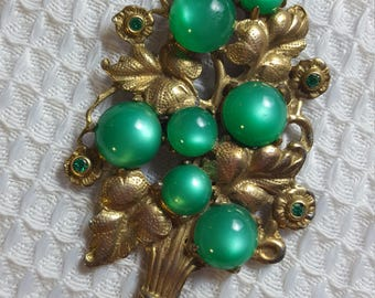 Vintage Brass Flower Bouquet with Glowing Green Stones
