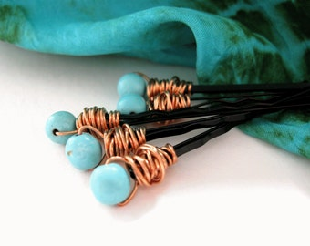 Choose Wire/Pin Colors-HAIR PINS-Turquoise Wire Wrap, Bobby Pins, Blue Hair, Turquoise Hair, Magnesite Hair,  Hair Jewelry, Bad Hair Days
