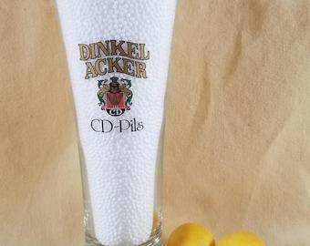 Pilsner Beer Glass ~ Dinkel Acker ~ CD-Pils ~ Weizenkrone Germany ~ Vintage Bar Ware ~ German Beer Glass ~ Seths Vintage Emporium