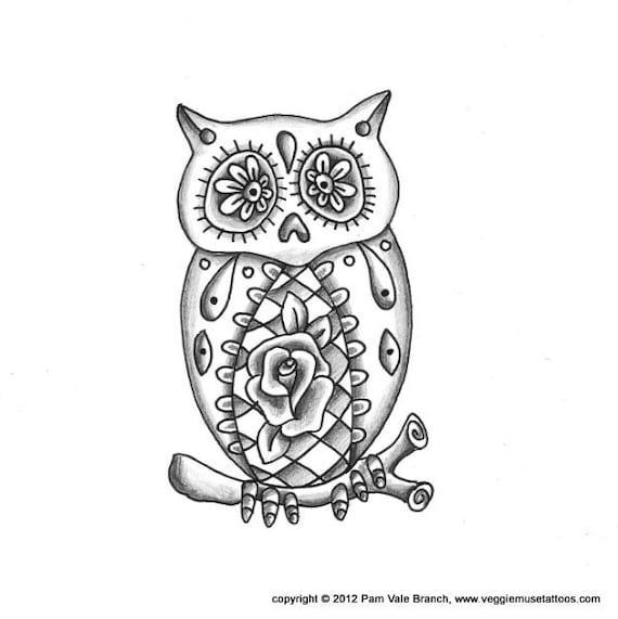 Items Similar To 0017 Sugar Skull Owl Tattoo Design On Etsy