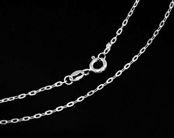 20 inches of 925 Sterling Silver Flat Cable Chain Necklace 1x2.5 mm. , Delicate Chain  :th2564-20