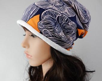 Cotton jersey beanie women Spring-summer beanie hat Slouchy beanie hat Jersey beanie womens Chemo hat women Headwear size S/M