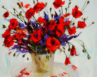 Original oil painting Poppies Still life Bouquet Gentle