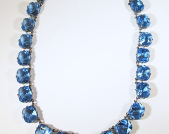 Vintage-Jewelry-Silver-Rhinestone-Necklace-Costume Jewelry-Art Deco-Blue-Minimalist-Women-Gift-Birthday-Birthday Gift-Anniversary-1930s