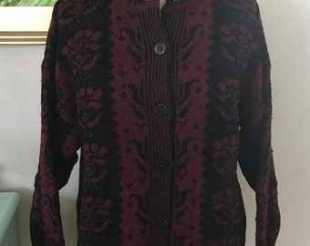 Vintage Tom Waling Designs Cardigan Sweater Plum and Black Womens M Winter Gifts Under 40 Holiday Sweater Christmas New Years England