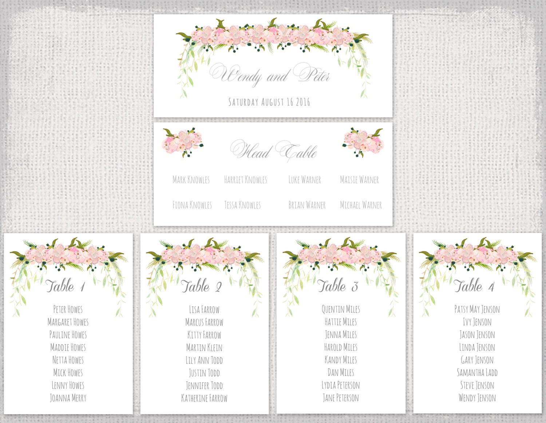 Hochzeit Sitzmöbel Diagramm Vorlage rosa Blume garland