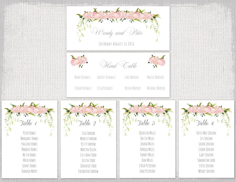 Wedding seating chart template pink flower garland Tutti