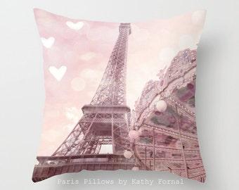 Eiffel Tower Carousel Pillow, Paris Pillows, Baby Girl Nursery Pillows, Paris Pillows, Eiffel Tower Pillows, Paris Decorative Throw Pillows