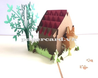 Dog's house 3D Card/Pop up card/Greeting card