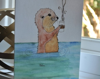 Beautiful {blank} Watercolor Greeting Card made by 8 year-old artist: Otter Coffee Date