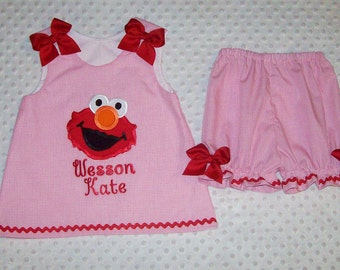 Pink Gingham Elmo Applique Monogram A-line Top and Bloomers Set with red trim - pink gingham shorties - Elmo shorts set - birthday party
