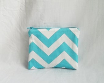 Aqua Blue Makeup bag - Personalized Chevron Pouch - Bridesmaid clutches - Small