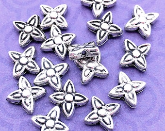 16 Four Petal Flower Beads, Antique Silver Tone, about 6.25mm x 6.75mm with a 1mm Hole - TS695B