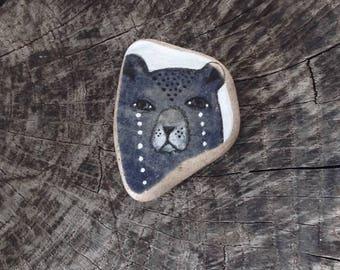 Indigo Blue Beach Pottery Bear - Crying, Tears, Sorrowful