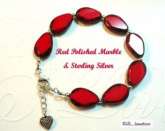 Red Bracelet, Red Stone Bracelet with Sterling Silver, Red Hat Society Gift, B2017-07