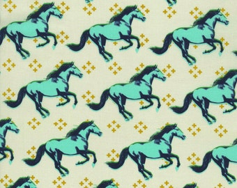 Mustang in Aqua, Mustang, by Melody Miller for Cotton and Steel Fabrics, HALF Yard