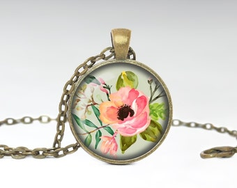 Flower Glass Pendant Flower Necklace Pink Flower Necklace Gift for Her
