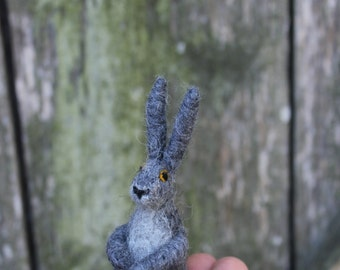 Needle felted gray Hare, Rabbit or Bunny. Handmade. Miniature soft sculpture, felted wild animals