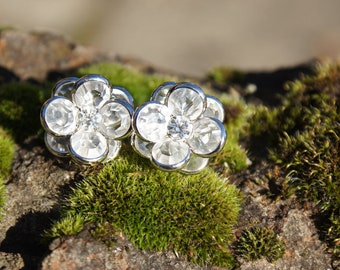 Swarovski Clear Ice Flower Bezel Earrings