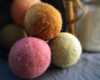 Ovella wool dryer balls. The Terra Collection. Set of six (6). naturally dyed, bright, colorful, ecofriendly, no chemicals, pink, blue