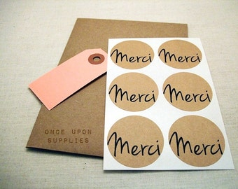 Merci Stickers Round Labels 1.5-inch Merci Envelope Seals Scrapbook Embellishments Thanks. Rustic Round Stickers. Merci Labels Seals