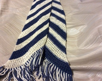 Hand knit scarf, wool ease yarn, part wool scarf, beautiful soft scarf, blue and off white knit scarf, hand knit,