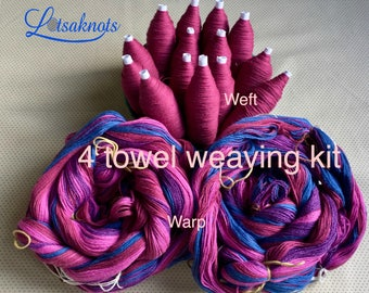 Red Striped Weaving Kit for 4 Towels, Weaving Loom Kit, How to Weave Kit, Loom Weaving, DIY Weaving Kit, Pre-wound Warp, Handweaving