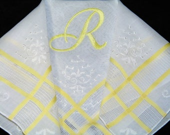 "Stunning Vintage Hand Embroidery Yellow on White Monogrammed Monogram ""R"" Ladies Brides Wedding Handkerchief, Hankie, Hanky - 1037"