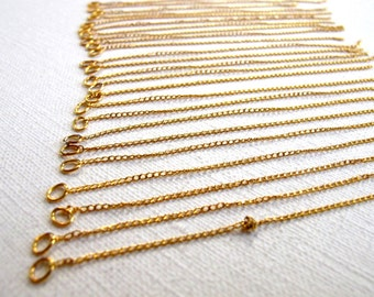 Gold Plated Curb Chain Charms With Jump Ring (24X) (C578)