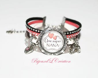 "Personalized ""Super girl"" Ribbon suede Cuff Bracelet"