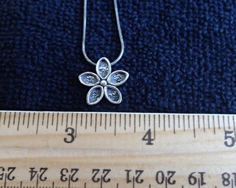 Flower Necklace in Oxydized Sterling
