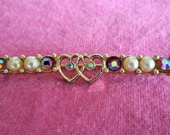 Sarah Coventry Vintage Faux Pearl & Rhinestone Heart Bar Pin