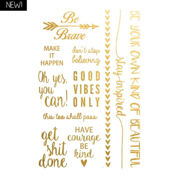 Tattoo Quotes Wisdom: Words Of Wisdom Metallic Temporary Tattoo Gold Temporary